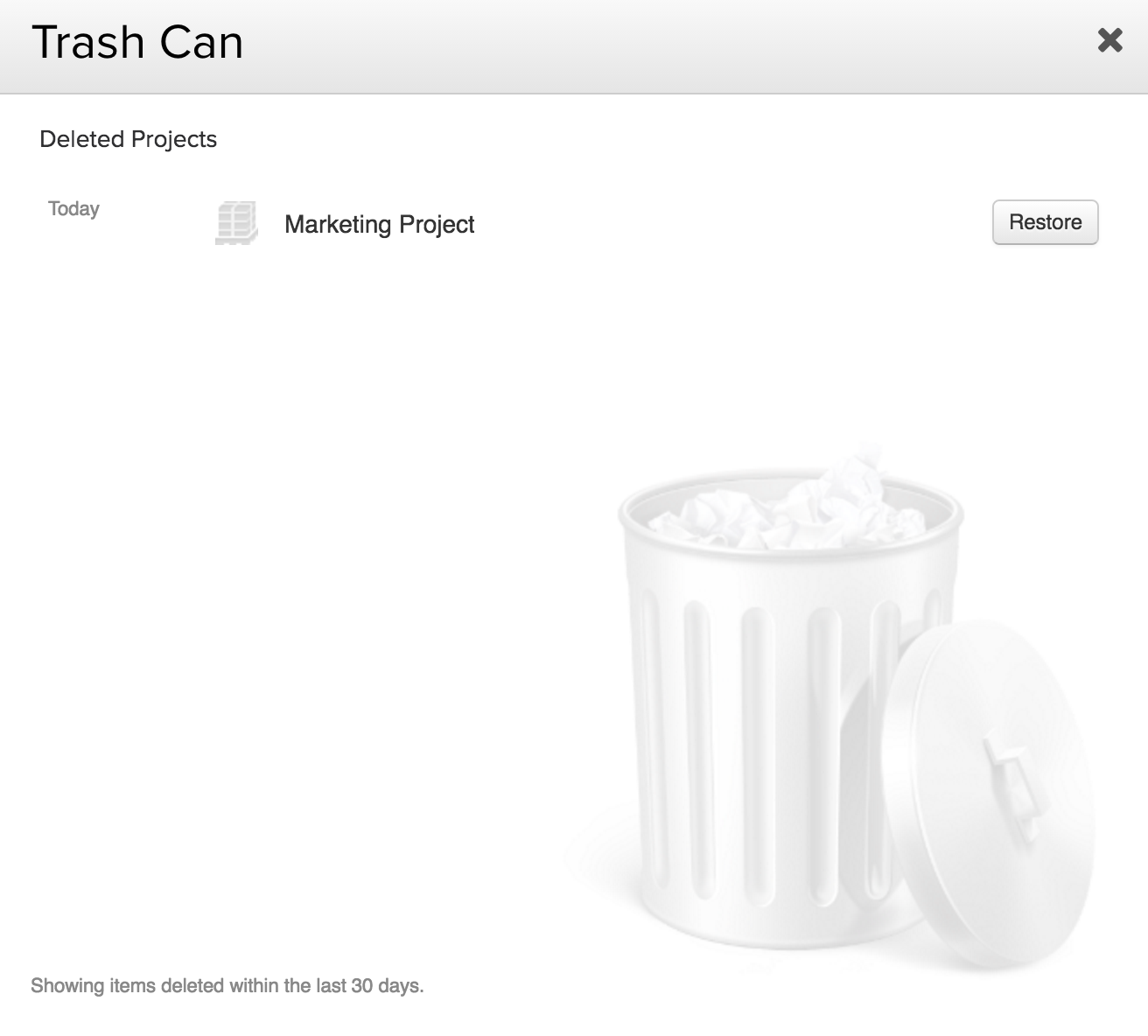 Restore a project from trash can