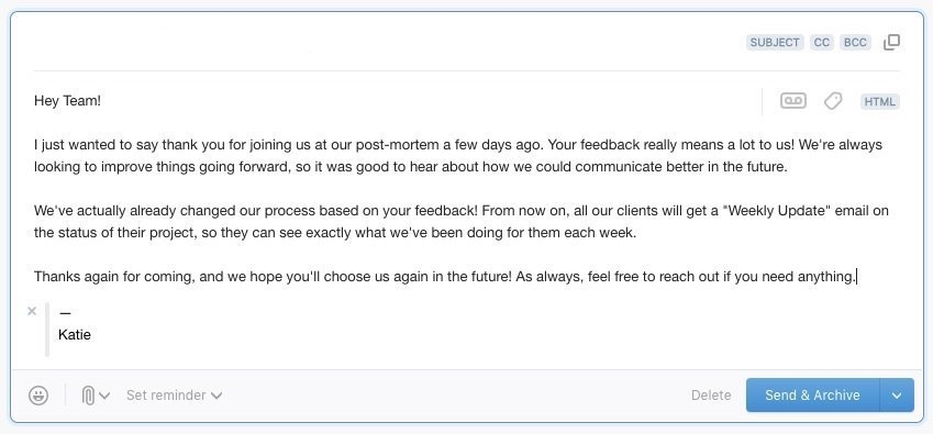 Meeting follow-up email to client