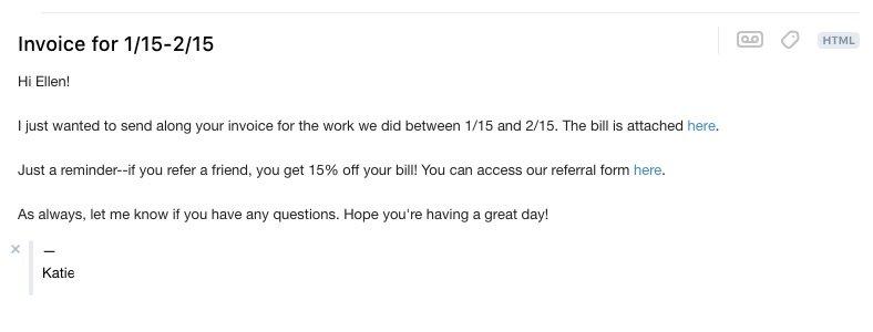 referral invoice