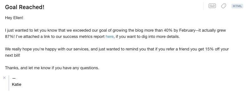 success metrics email template