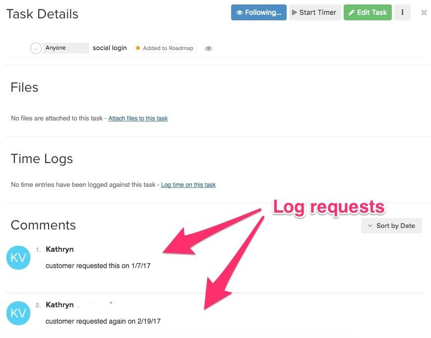 Track feature requests in Teamwork Projects.
