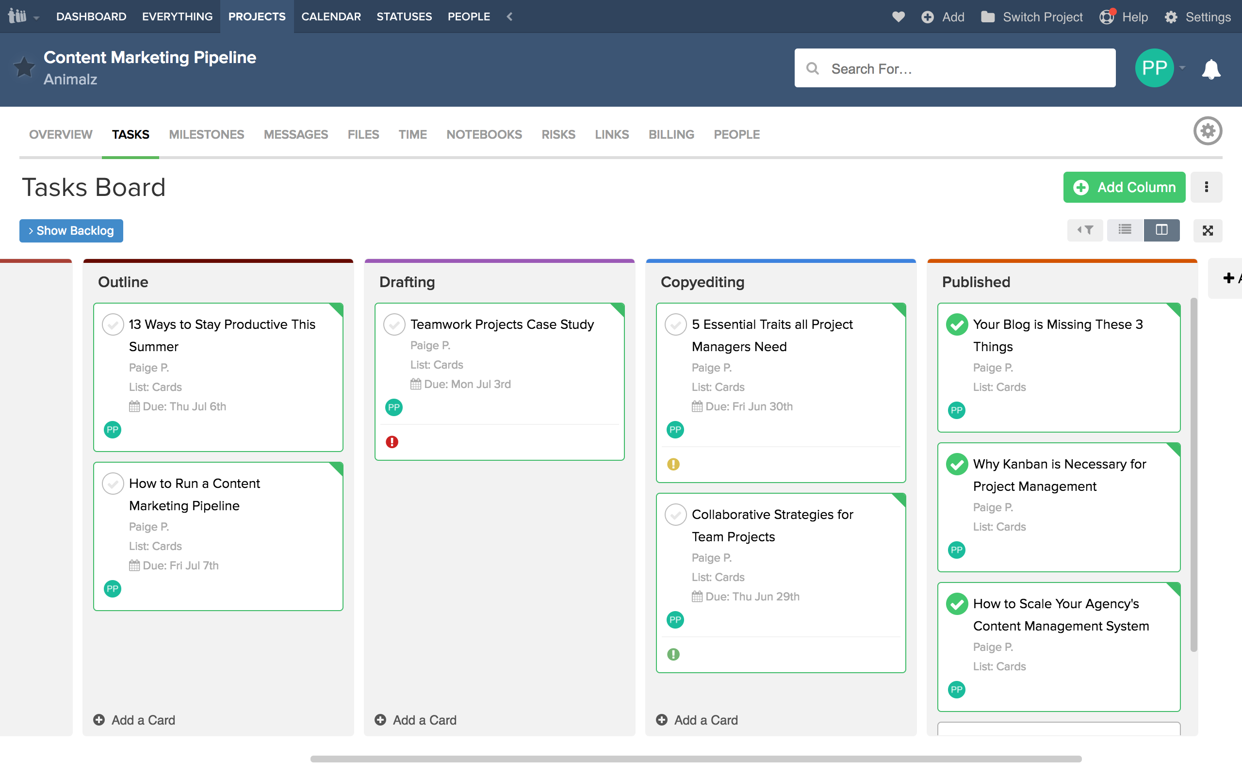 Using Board View in Teamwork Projects for your agency's content marketing workflow