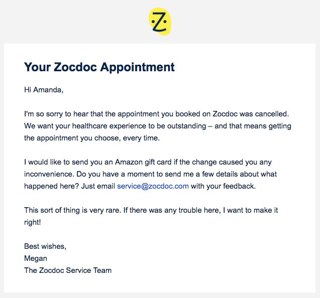 ZocDoc Apology