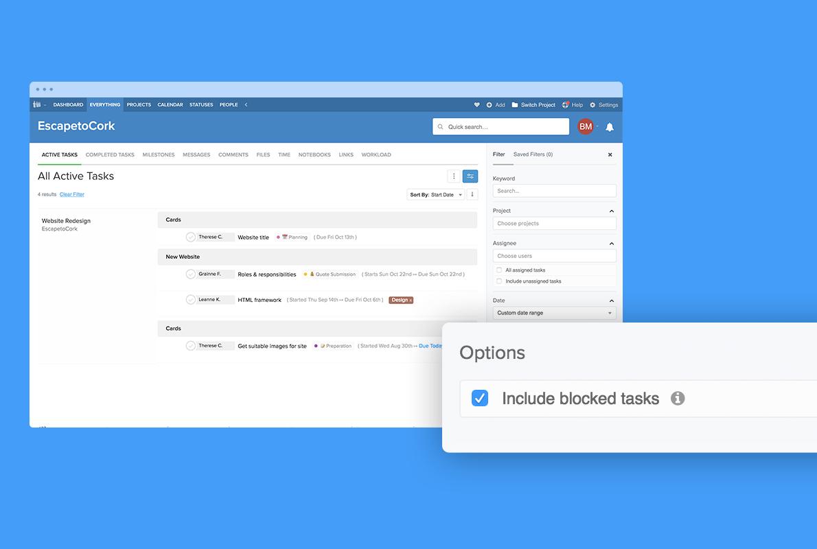 blocked tasks filter