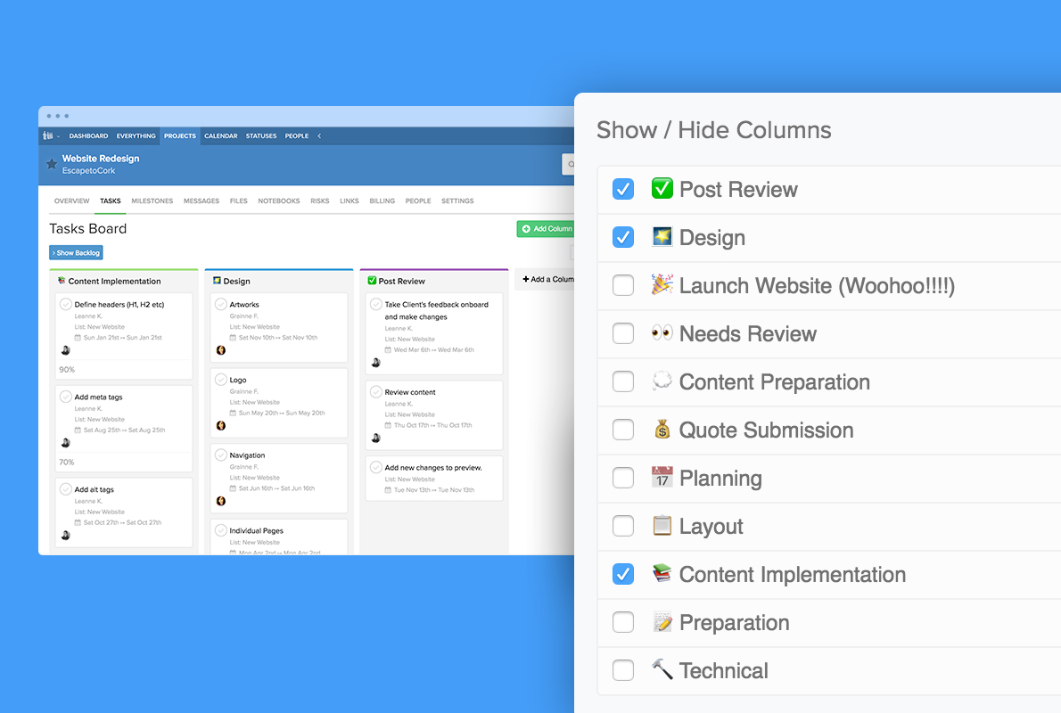 filter columns in task view