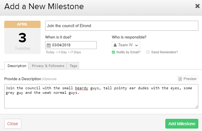 Adding a Milestone in Teamwork Projects 5