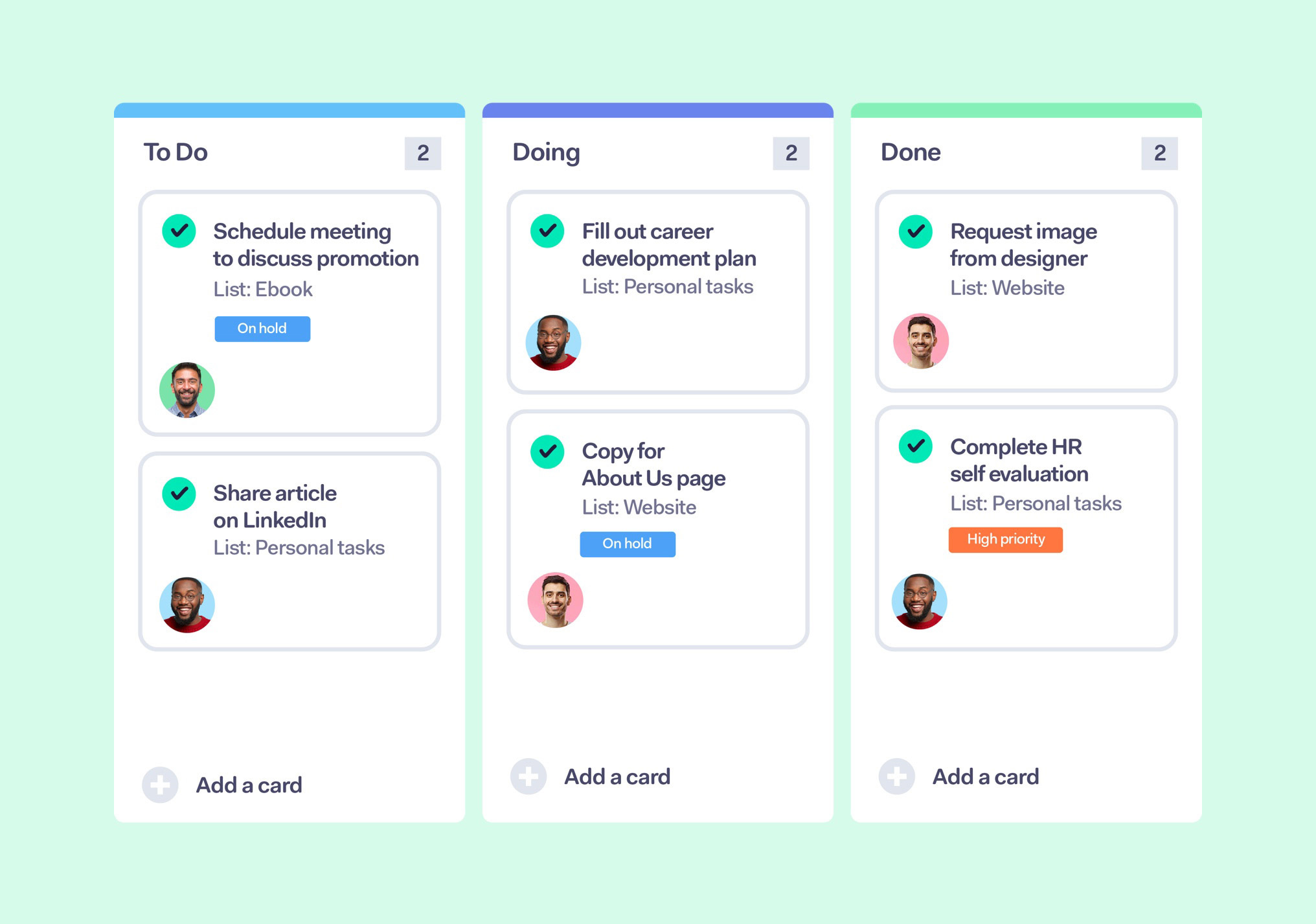 Track your task's progress using Boards in Teamwork.