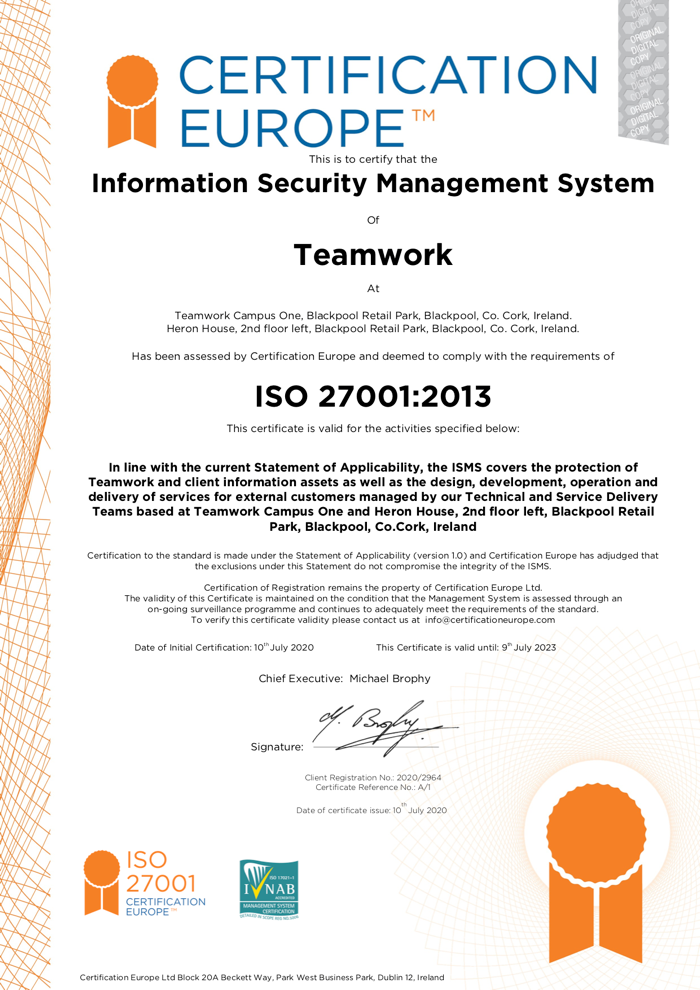 Teamwork - ISO/IEC 27001:2013 Certification